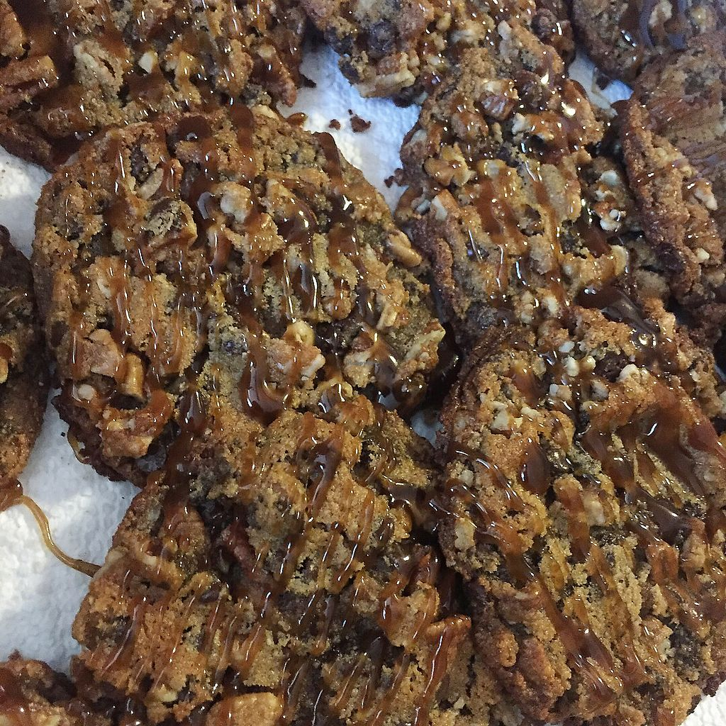 """Photo of Free Birds Vegan Bakery  by <a href=""""/members/profile/freebirdsvb"""">freebirdsvb</a> <br/>Caramel Pecan Chocolate Chip Cookies  <br/> August 22, 2017  - <a href='/contact/abuse/image/99239/295447'>Report</a>"""