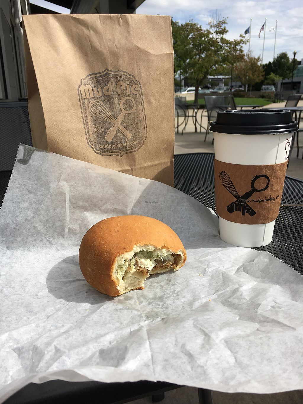 "Photo of Mud Pie Vegan Bakery and Coffee  by <a href=""/members/profile/MersadesMarie0"">MersadesMarie0</a> <br/>Pumpkin spice latte and Green onion & ""sausage"" Kolche <br/> October 1, 2017  - <a href='/contact/abuse/image/99295/310712'>Report</a>"