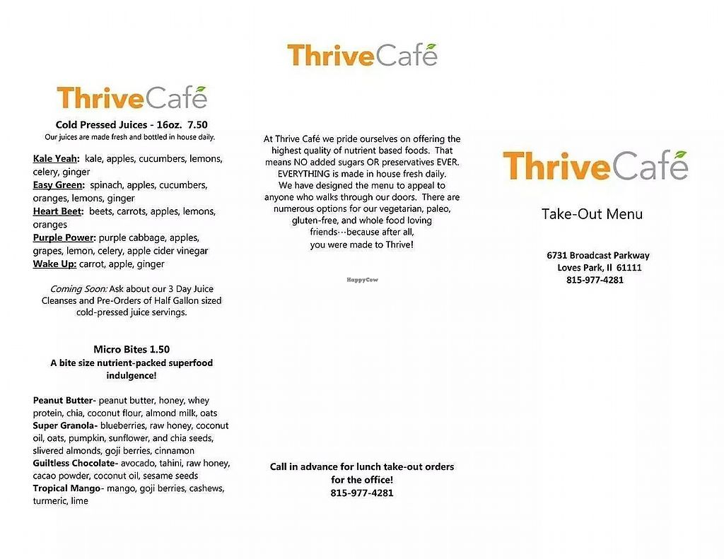 "Photo of Thrive Cafe  by <a href=""/members/profile/PlantSim"">PlantSim</a> <br/>The menu offers healthy food in a hurry. Most items are inherently vegan, with non-vegan additions costing extra <br/> August 23, 2017  - <a href='/contact/abuse/image/99364/296356'>Report</a>"