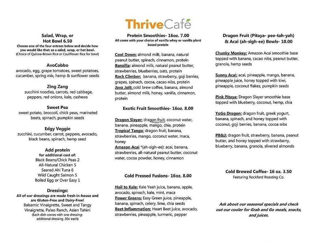 "Photo of Thrive Cafe  by <a href=""/members/profile/PlantSim"">PlantSim</a> <br/>The menu offers healthy food in a hurry. Most items are inherently vegan, with non-vegan additions costing extra <br/> August 23, 2017  - <a href='/contact/abuse/image/99364/296358'>Report</a>"