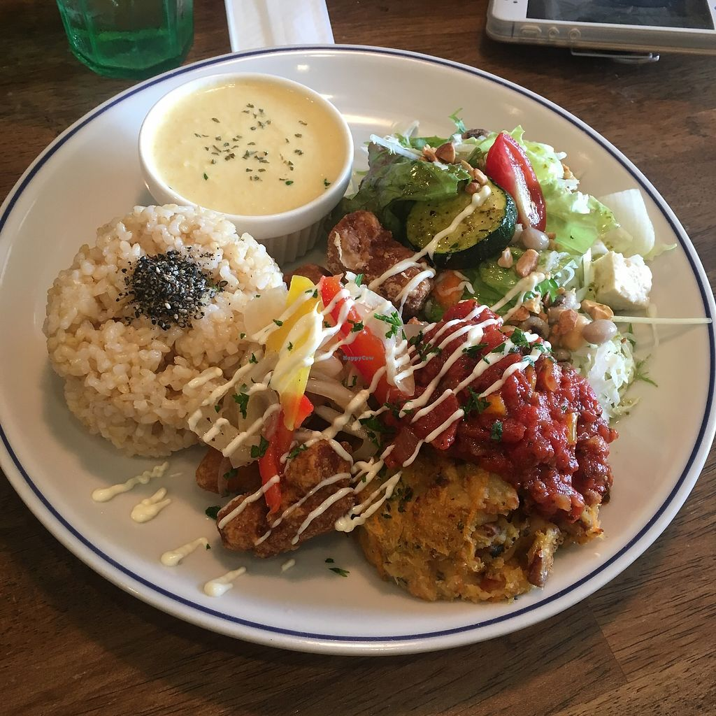 "Photo of Cafe Mother Beans  by <a href=""/members/profile/Storyisfabulous"">Storyisfabulous</a> <br/>Lunch special! Vegan chickpea croquette with bean salad, brown rice and corn soup! <br/> August 30, 2017  - <a href='/contact/abuse/image/99390/298898'>Report</a>"