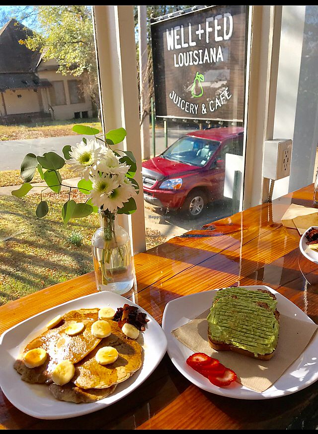 """Photo of Well Fed Louisiana  by <a href=""""/members/profile/daelene"""">daelene</a> <br/>Vegan pancakes ? and avocado GF toast both really yummy  <br/> January 26, 2018  - <a href='/contact/abuse/image/99406/351129'>Report</a>"""