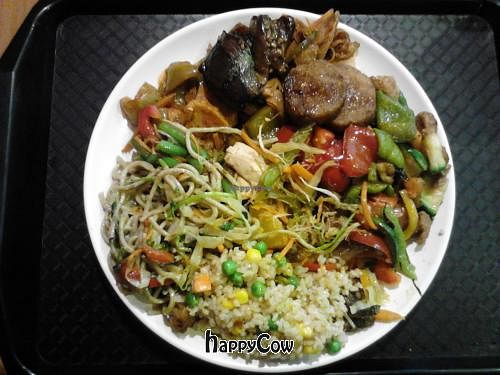 """Photo of Bosque Bambu  by <a href=""""/members/profile/ImmerWeiter"""">ImmerWeiter</a> <br/>A plate with (nearly) all vegan options (besides the salad and the dessert <br/> February 20, 2013  - <a href='/contact/abuse/image/9946/44404'>Report</a>"""