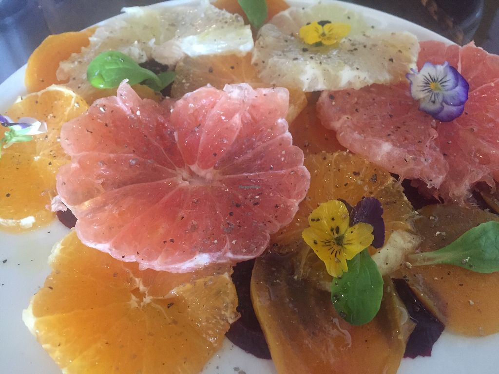 """Photo of Three Chef's Bistro  by <a href=""""/members/profile/dawnlynn0421%40yahoo.co"""">dawnlynn0421@yahoo.co</a> <br/>orange and beet carpaccio <br/> August 26, 2017  - <a href='/contact/abuse/image/99472/297666'>Report</a>"""