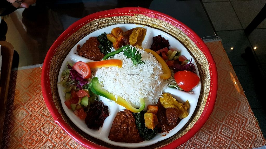"""Photo of Restaurant Al Habesha  by <a href=""""/members/profile/mon1que"""">mon1que</a> <br/>A meal you can order for two or more - Habesha Special Vegansk with rice  <br/> August 28, 2017  - <a href='/contact/abuse/image/99483/298166'>Report</a>"""