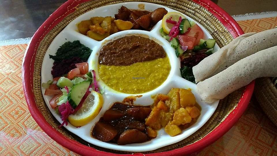 """Photo of Restaurant Al Habesha  by <a href=""""/members/profile/Coralin"""">Coralin</a> <br/>Vegan special <br/> September 20, 2017  - <a href='/contact/abuse/image/99483/306368'>Report</a>"""