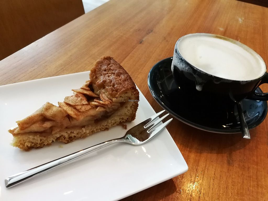 """Photo of Kattencafé Ditjes & Katjes  by <a href=""""/members/profile/Gudrun"""">Gudrun</a> <br/>Delicious vegan apple pie. Just a small piece because it was the last one and I was late, I got a good discount ;-) <br/> September 10, 2017  - <a href='/contact/abuse/image/99540/302873'>Report</a>"""