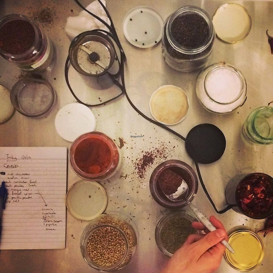 """Photo of Solar Kitchen Bar  by <a href=""""/members/profile/DanielPlackett"""">DanielPlackett</a> <br/>Spice formulas to aid good digestion and release of nutrients  <br/> August 26, 2017  - <a href='/contact/abuse/image/99612/297634'>Report</a>"""