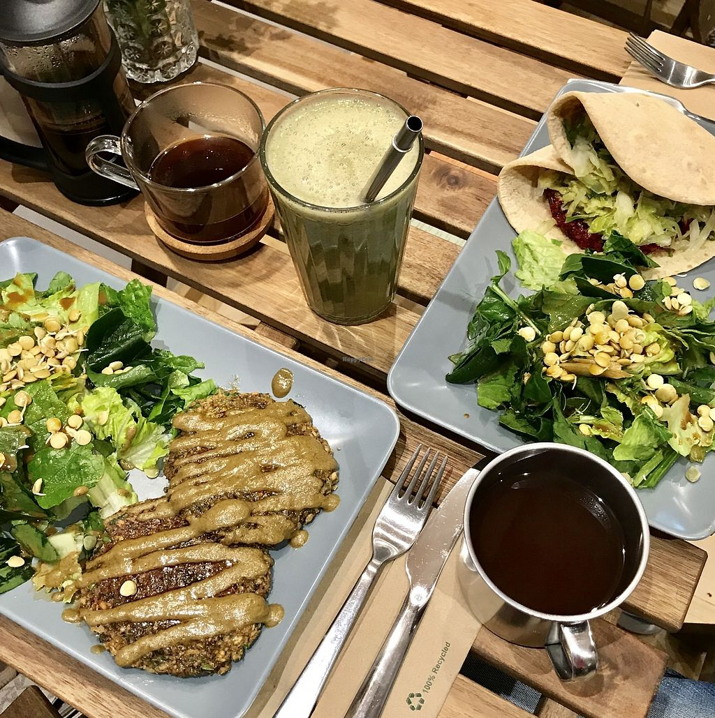 """Photo of Solar Kitchen Bar  by <a href=""""/members/profile/Dharmalivi"""">Dharmalivi</a> <br/>Fava and sprouted wheat burger with almond-mayo sauce. And the sprouted spicy lentil burger with mustard sauce  <br/> February 19, 2018  - <a href='/contact/abuse/image/99612/361300'>Report</a>"""