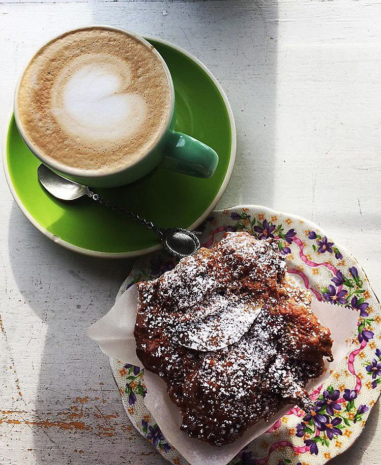 """Photo of The Treehouse Cafe  by <a href=""""/members/profile/eeds"""">eeds</a> <br/>vegan muffin & latte  <br/> August 27, 2017  - <a href='/contact/abuse/image/99697/297935'>Report</a>"""