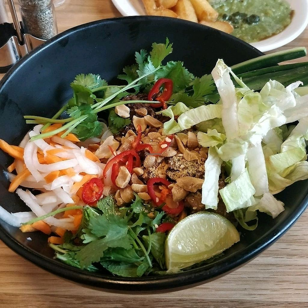"Photo of Mildred's Dalston  by <a href=""/members/profile/Plumesworld"">Plumesworld</a> <br/>Vietnamese Mock Duck Noodles - vegan <br/> August 31, 2017  - <a href='/contact/abuse/image/99713/299360'>Report</a>"
