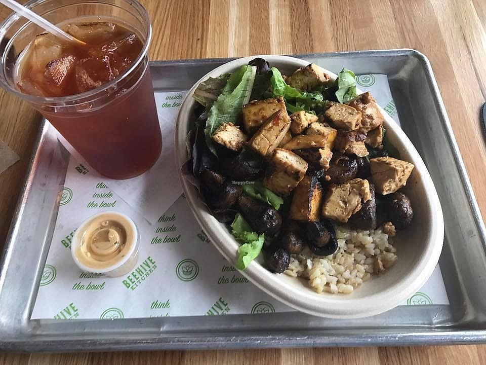 """Photo of Beehive Kitchen  by <a href=""""/members/profile/ChristopherMichael"""">ChristopherMichael</a> <br/>Citrus tofu with brown rice, sautéed mushrooms, field greens, and a coconut thai curry sauce <br/> August 27, 2017  - <a href='/contact/abuse/image/99739/297953'>Report</a>"""