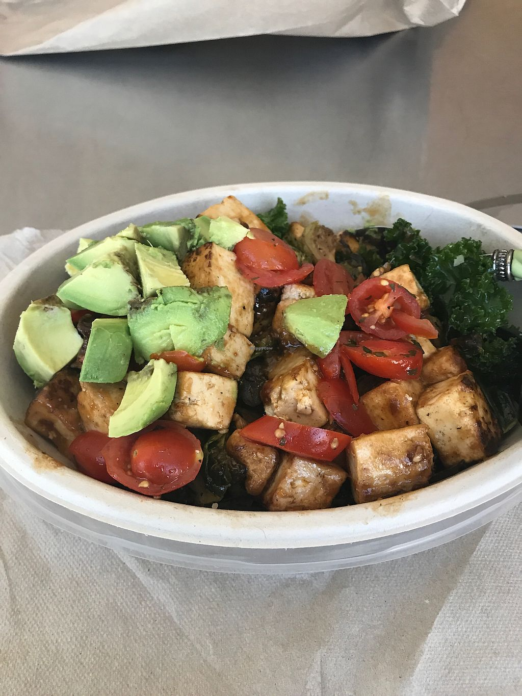 """Photo of Beehive Kitchen  by <a href=""""/members/profile/mcollins88"""">mcollins88</a> <br/>Tofu, mushrooms, tomatoes and kale <br/> September 28, 2017  - <a href='/contact/abuse/image/99739/309447'>Report</a>"""