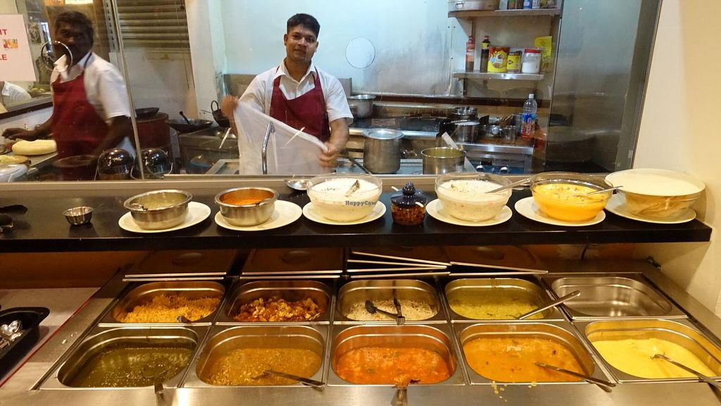 """Photo of Madras Woodland Ganga  by <a href=""""/members/profile/JimmySeah"""">JimmySeah</a> <br/>buffet spread and kitchen crew <br/> May 6, 2015  - <a href='/contact/abuse/image/9975/101409'>Report</a>"""