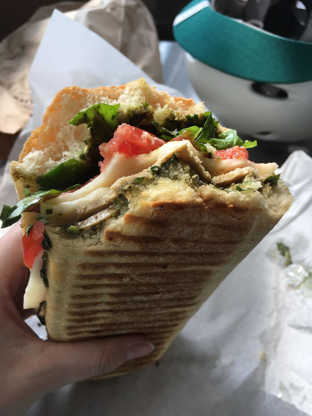 """Photo of On The Bus  by <a href=""""/members/profile/Paigesterrs"""">Paigesterrs</a> <br/>Basil Pesto Sandwich! <br/> August 28, 2017  - <a href='/contact/abuse/image/99798/298380'>Report</a>"""