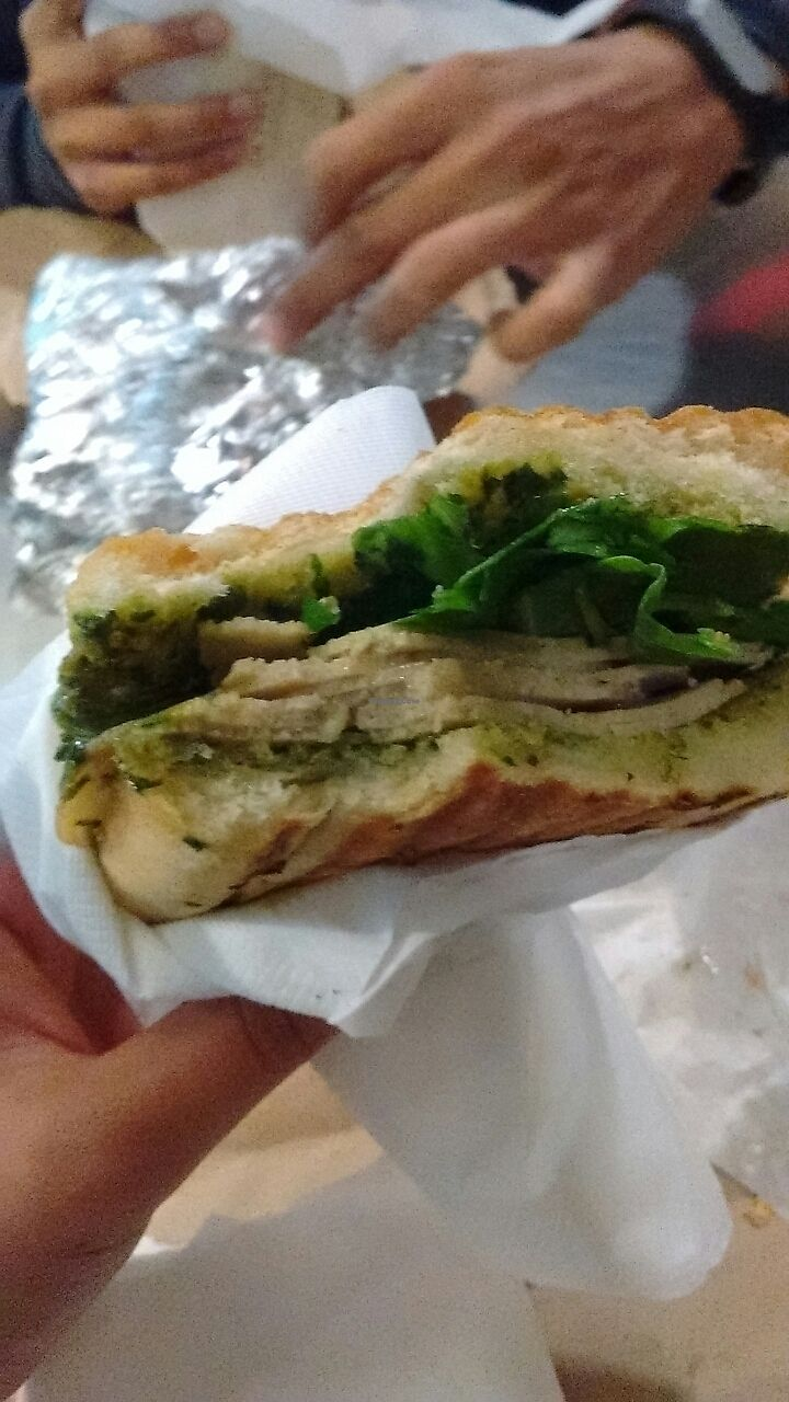 """Photo of On The Bus  by <a href=""""/members/profile/jasminebagha"""">jasminebagha</a> <br/>pesto seitan sandwich  <br/> October 8, 2017  - <a href='/contact/abuse/image/99798/313200'>Report</a>"""
