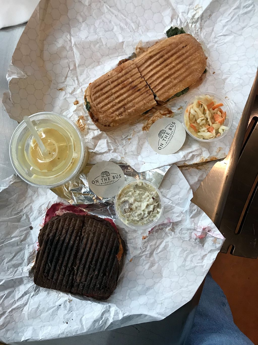 """Photo of On The Bus  by <a href=""""/members/profile/RobM"""">RobM</a> <br/>Lovely sandwiches! Barbecue seitan panini and a tempeh Reuben.  <br/> November 5, 2017  - <a href='/contact/abuse/image/99798/321892'>Report</a>"""