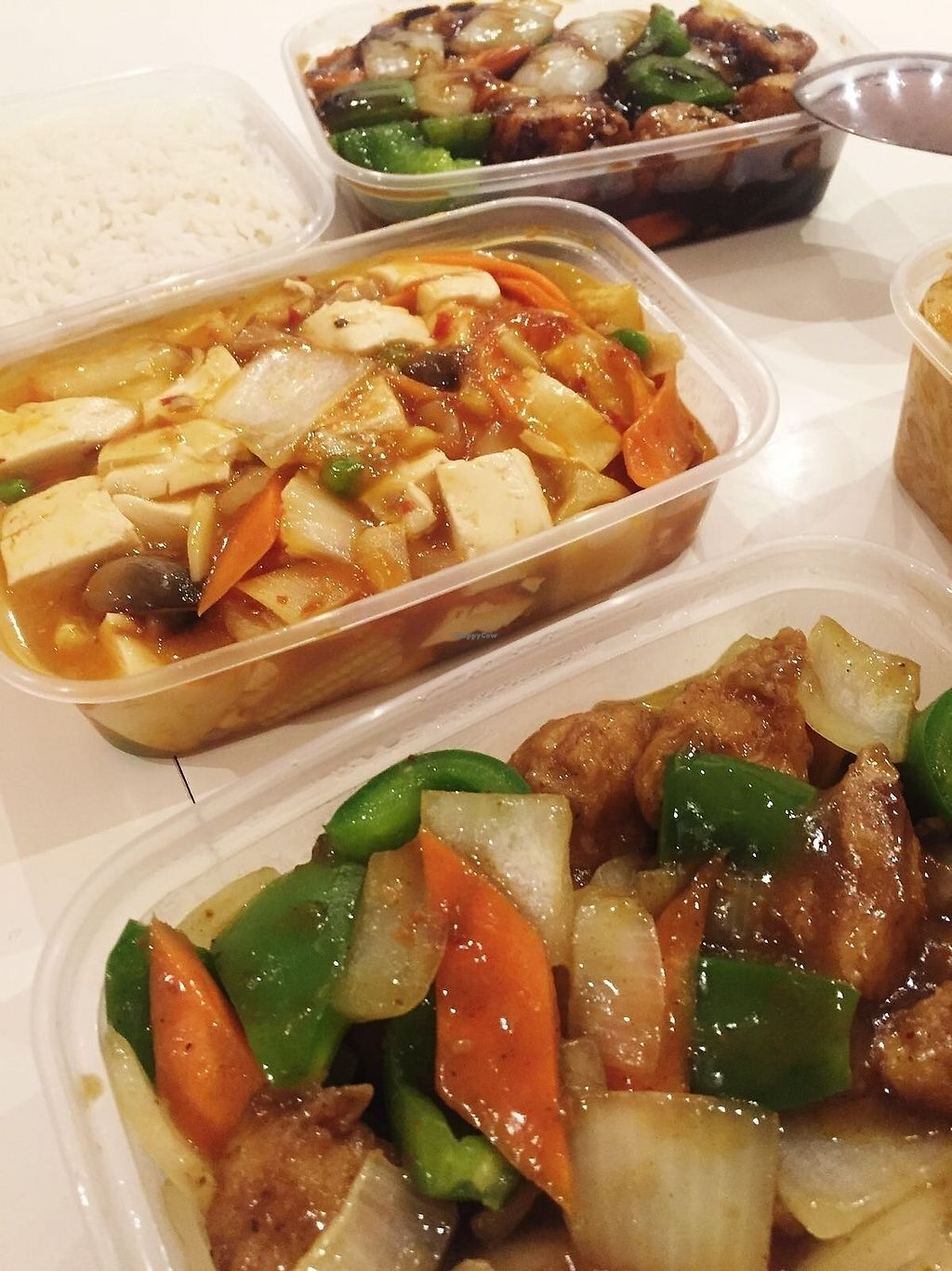 """Photo of New Happy Palace   by <a href=""""/members/profile/TARAMCDONALD"""">TARAMCDONALD</a> <br/>Takeaway goodies, vegan mock meat chicken in black bean sauce and satay mock chicken! Boiled rice and veggie vegan noodles...delicious! <br/> December 12, 2017  - <a href='/contact/abuse/image/99866/334871'>Report</a>"""