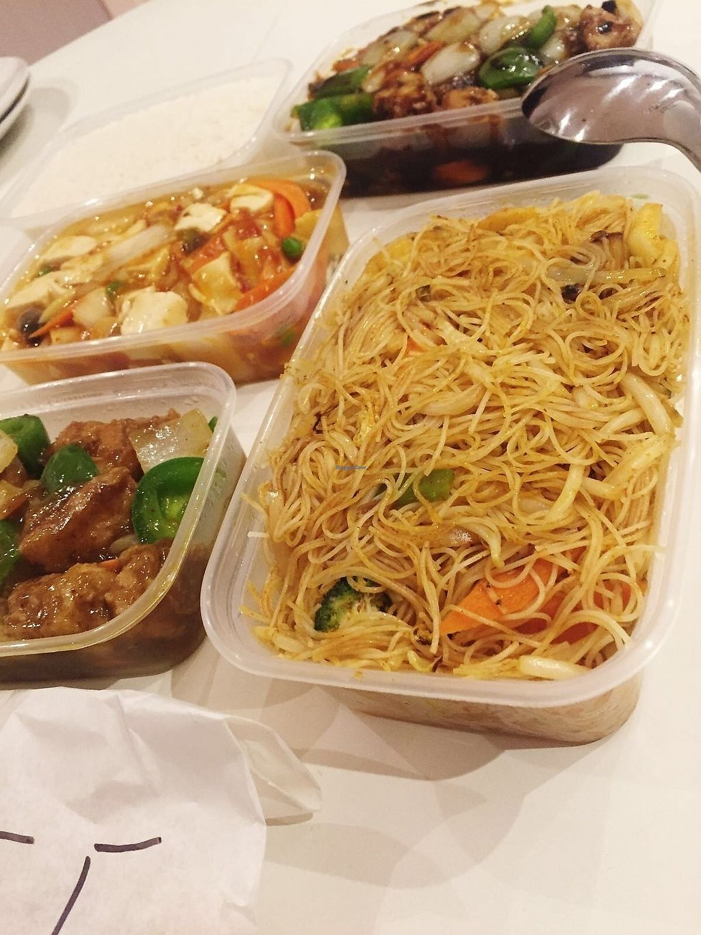 """Photo of New Happy Palace   by <a href=""""/members/profile/TARAMCDONALD"""">TARAMCDONALD</a> <br/>Spicy vegan noodles with veggies, black bean mock chicken and satay chicken <br/> December 12, 2017  - <a href='/contact/abuse/image/99866/334874'>Report</a>"""
