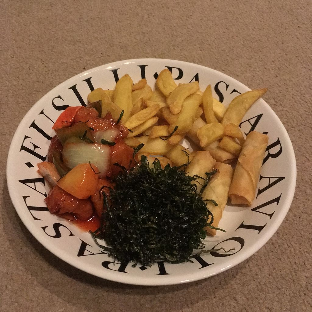 """Photo of New Happy Palace   by <a href=""""/members/profile/Caring%20Cosmetics"""">Caring Cosmetics</a> <br/>Sweet & Sour Mock Chicken Hong Kong Style with Seaweed, chips and spring rolls <br/> January 8, 2018  - <a href='/contact/abuse/image/99866/344332'>Report</a>"""