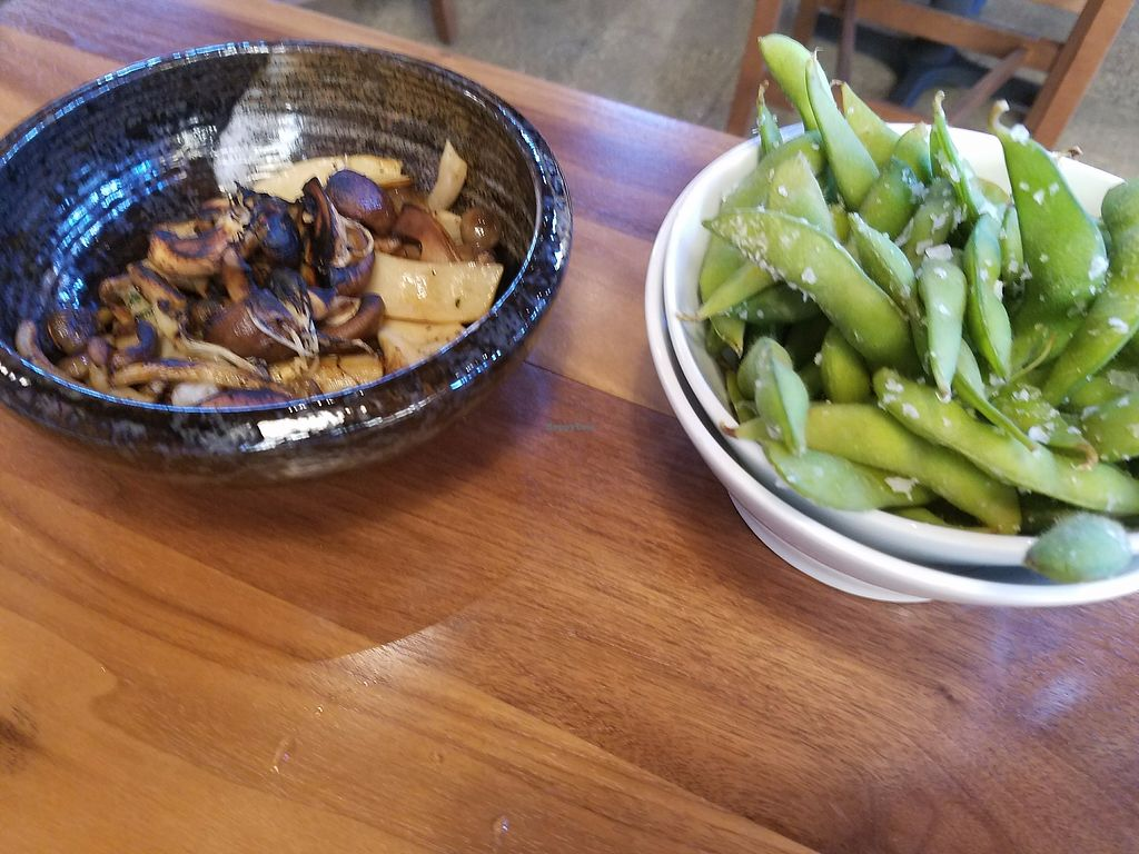"""Photo of Maru Sushi & Grill  by <a href=""""/members/profile/MerryRose"""">MerryRose</a> <br/>edamame and mushroom medley <br/> August 30, 2017  - <a href='/contact/abuse/image/99941/299149'>Report</a>"""