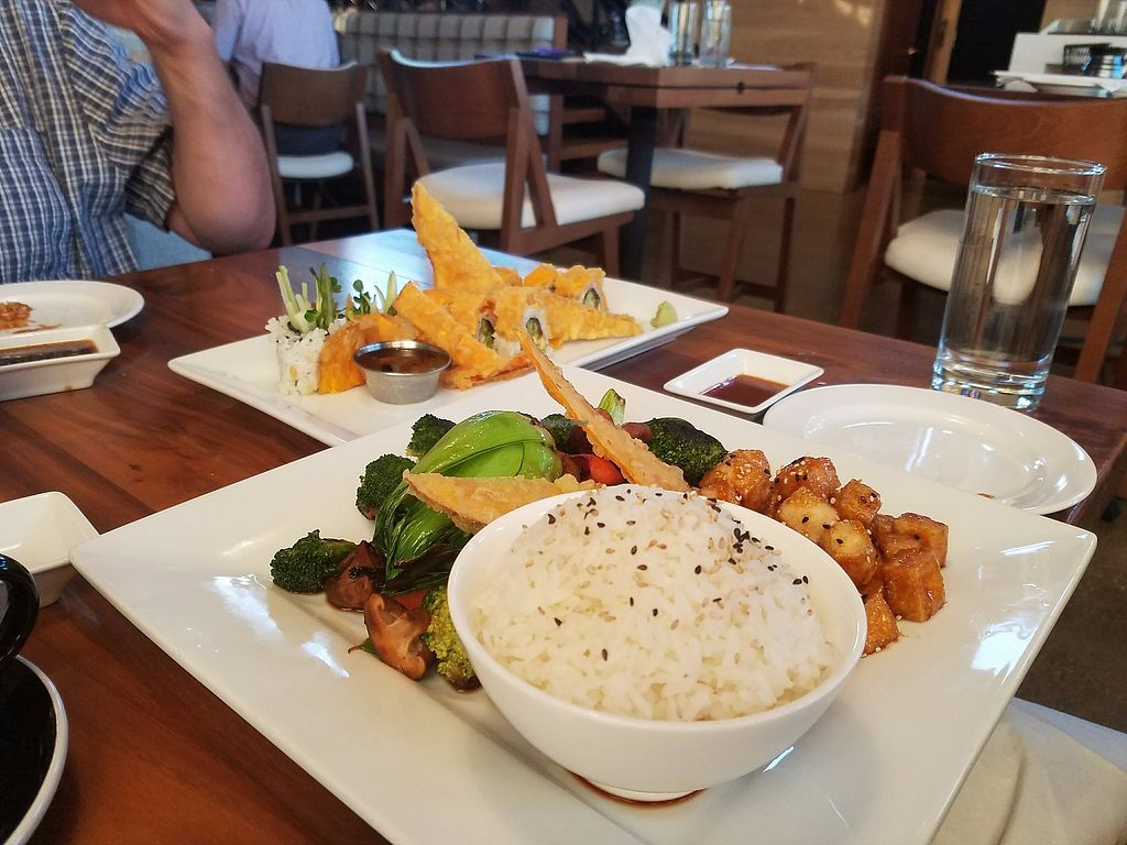 """Photo of Maru Sushi & Grill  by <a href=""""/members/profile/MerryRose"""">MerryRose</a> <br/>hibachi veggie plate and boogie veggie roll <br/> August 30, 2017  - <a href='/contact/abuse/image/99941/299158'>Report</a>"""