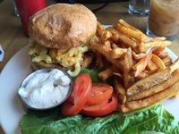 "Photo of Vertical Diner  by <a href=""/members/profile/veganscorpio"">veganscorpio</a> <br/>Veggie burger topped with mac n cheez, spicy fries on side.   <br/> August 29, 2015  - <a href='/contact/abuse/image/10637/115637'>Report</a>"