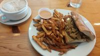 "Photo of Vertical Diner  by <a href=""/members/profile/aliskydiver"">aliskydiver</a> <br/>Fries and Pesto Sandwich with Seitan on French Roll <br/> February 14, 2017  - <a href='/contact/abuse/image/10637/226382'>Report</a>"