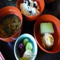 """Photo of Hachinoki  by <a href=""""/members/profile/Nihacc"""">Nihacc</a> <br/>Miso soup, pickles (cucumber, red cabbage, radish), tofu tempura, summer cucumber, rice with beans <br/> September 5, 2010  - <a href='/contact/abuse/image/13870/5730'>Report</a>"""