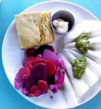 """Photo of Counter Culture  by <a href=""""/members/profile/mslacey"""">mslacey</a> <br/>Pest Raw-violis, side of raw pickled veggies, and jalapeño cornbread. beautiful! <br/> October 8, 2013  - <a href='/contact/abuse/image/18120/226103'>Report</a>"""