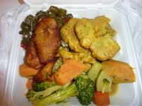 """Photo of Healthful Essence  by <a href=""""/members/profile/MizzB"""">MizzB</a> <br/>Pasta veggies, collards, spicy lentils over rice & peas, plantains. Oh so good. Not pictured, the awesome sweet potato cornbread <br/> May 7, 2015  - <a href='/contact/abuse/image/18639/101498'>Report</a>"""