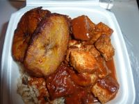 """Photo of Healthful Essence  by <a href=""""/members/profile/MizzB"""">MizzB</a> <br/>Plantains, Barbequed tofu, rice & peas <br/> May 7, 2015  - <a href='/contact/abuse/image/18639/101499'>Report</a>"""