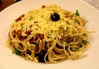 """Photo of Vegalite  by <a href=""""/members/profile/kezia"""">kezia</a> <br/>Spaghetti, which was easily as good as any vegan pasta I've eaten at Italian restaurants. It was perfectly cooked with a light home made Rosemary olive oil dressing with olives, sun dried tomatoes and walnuts <br/> October 14, 2014  - <a href='/contact/abuse/image/18900/82929'>Report</a>"""