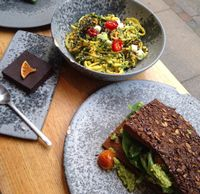"""Photo of 42 Degrees Raw - Pilestaede  by <a href=""""/members/profile/VeganEllise"""">VeganEllise</a> <br/>Thai noodle salad, choco/ orange cake and sandwich <br/> October 24, 2015  - <a href='/contact/abuse/image/20746/122471'>Report</a>"""