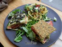 """Photo of 42 Degrees Raw - Pilestaede  by <a href=""""/members/profile/vegankiwis"""">vegankiwis</a> <br/>Tapas Plate: Avocado Sandwich, Thai Noodles and Lasagna <br/> May 7, 2013  - <a href='/contact/abuse/image/20746/47905'>Report</a>"""