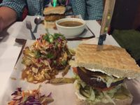 """Photo of Boon Burger Cafe  by <a href=""""/members/profile/ChelseaAprilNovak"""">ChelseaAprilNovak</a> <br/>Bacun and cheeze burger with pulled jackfruit poutine and a Thanksgiving burger with mushroom soup  <br/> October 27, 2017  - <a href='/contact/abuse/image/21288/319310'>Report</a>"""