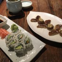 "Photo of Franchia Vegan Cafe  by <a href=""/members/profile/Shakhidra"">Shakhidra</a> <br/>mushrooms, jasmine green tea, and California roll with fake crab  <br/> December 29, 2015  - <a href='/contact/abuse/image/2265/130287'>Report</a>"