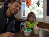 """Photo of The Great Escape Ice Cream Parlor  by <a href=""""/members/profile/vegfam"""">vegfam</a> <br/> Homemade vegan pistachio and vanilla with toppings. Delicious!!! <br/> October 12, 2014  - <a href='/contact/abuse/image/23484/82734'>Report</a>"""
