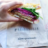 "Photo of Olive et Gourmando  by <a href=""/members/profile/Rubysunn"">Rubysunn</a> <br/>vegan chickpea patty sandwich on focaccia bun <br/> August 1, 2016  - <a href='/contact/abuse/image/25199/164343'>Report</a>"