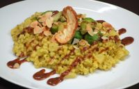 """Photo of Vaust Braugaststatte  by <a href=""""/members/profile/WolfgangGrabolle"""">WolfgangGrabolle</a> <br/>""""Risotto""""-made of naked barley and ananas, with curry, brussels sprout with sesame, roastet almondslices, pesto of rins an d rum, dried ring of apple daily special meal 9feb2018 <br/> February 9, 2018  - <a href='/contact/abuse/image/32229/356860'>Report</a>"""
