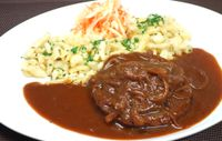 """Photo of Vaust Braugaststatte  by <a href=""""/members/profile/WolfgangGrabolle"""">WolfgangGrabolle</a> <br/>Zwiebel-Seitan-Rostbraten in Rotweinjus, mit Spätzle und Weisskraut-Mören-Salat Vegan Roast of Seitan and onions in red-wine-jus, with pasta and white cabbage-carrot-salad Daily special 03/13/2018 <br/> March 13, 2018  - <a href='/contact/abuse/image/32229/370262'>Report</a>"""