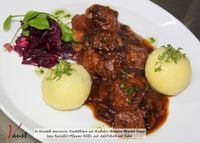 """Photo of Vaust Braugaststatte  by <a href=""""/members/profile/WolfgangGrabolle"""">WolfgangGrabolle</a> <br/>Marinated soy balls <br/> January 21, 2014  - <a href='/contact/abuse/image/32229/62903'>Report</a>"""