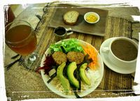 """Photo of Earth Cafe and Market - Ubud  by <a href=""""/members/profile/Virogen"""">Virogen</a> <br/>Dragon salad with sprouted sourdough bread (and pumpkin butter) and Mexican black bean soup <br/> October 13, 2015  - <a href='/contact/abuse/image/32487/121207'>Report</a>"""