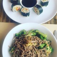 """Photo of Earth Cafe and Market - Ubud  by <a href=""""/members/profile/bthevegantraveller"""">bthevegantraveller</a> <br/>tempeh veggie nori rolls and soba noodle stir-fry <br/> March 12, 2016  - <a href='/contact/abuse/image/32487/139657'>Report</a>"""