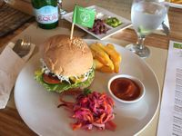 """Photo of Earth Cafe and Market - Ubud  by <a href=""""/members/profile/SusanRoberts"""">SusanRoberts</a> <br/>Tempe burger <br/> November 17, 2016  - <a href='/contact/abuse/image/32487/191127'>Report</a>"""