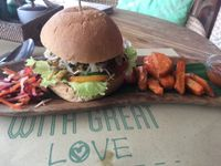 """Photo of Earth Cafe and Market - Ubud  by <a href=""""/members/profile/itatenda"""">itatenda</a> <br/>Best seitan burger i have had! <br/> February 9, 2018  - <a href='/contact/abuse/image/32487/356644'>Report</a>"""