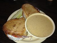 "Photo of CLOSED: Gutenfleischers  by <a href=""/members/profile/calamaestra"">calamaestra</a> <br/>buffalo sub and beer cheese soup  <br/> December 29, 2013  - <a href='/contact/abuse/image/33035/61197'>Report</a>"
