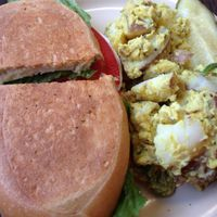 "Photo of CLOSED: Gutenfleischers  by <a href=""/members/profile/calamaestra"">calamaestra</a> <br/>chicken salad sandwich and curry potatoes  <br/> February 23, 2014  - <a href='/contact/abuse/image/33035/64755'>Report</a>"