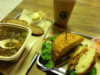 """Photo of Healthy Junk  by <a href=""""/members/profile/Hippiecatlady"""">Hippiecatlady</a> <br/>my favorite... the Anaheim chili burger and some lentil soup with hot tea <br/> February 5, 2013  - <a href='/contact/abuse/image/34315/43842'>Report</a>"""