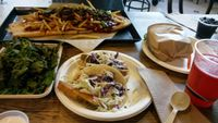 """Photo of Healthy Junk  by <a href=""""/members/profile/LiilyPadd"""">LiilyPadd</a> <br/>Fish tacos, kale chips, blt, chili cheese fry pizza, and watermelon juice <br/> November 12, 2014  - <a href='/contact/abuse/image/34315/85252'>Report</a>"""